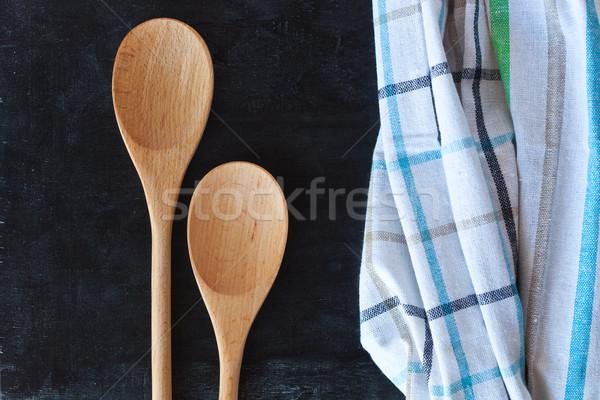 木製 側位 テーブルクロス 黒板 木材 表 ストックフォト © marylooo