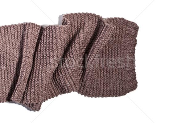 Tricoté brun écharpe isolé blanche mode Photo stock © marylooo
