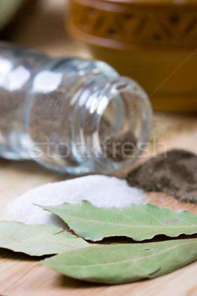pepper, salt and bay leaves Stock photo © marylooo