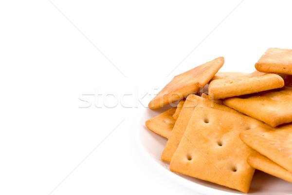 Cookies placa primer plano fondos blancos comer amarillo Foto stock © marylooo