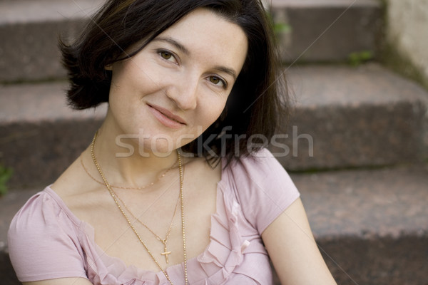 attractive smiling brunet woman Stock photo © marylooo