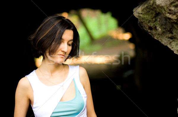 несчастный женщину пещере портрет довольно природы Сток-фото © marylooo