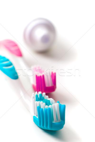 Fogkrém közelkép fogápolás szépség gyógyszer fürdőszoba Stock fotó © marylooo