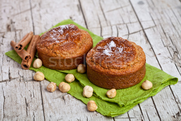 fresh buns with hazelnuts and cinnamon Stock photo © marylooo