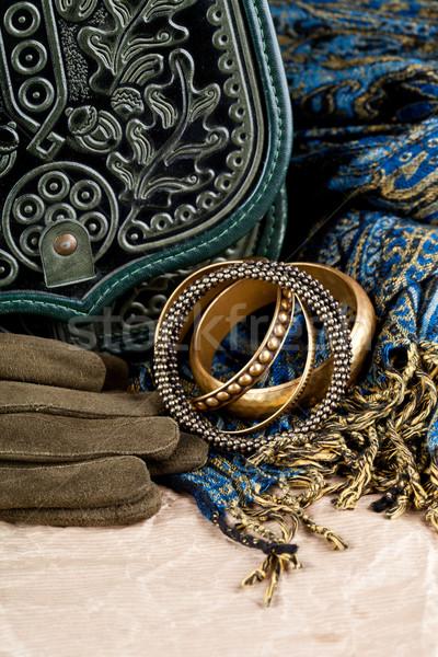 Klasszikus táska bőr kesztyű sál közelkép Stock fotó © marylooo