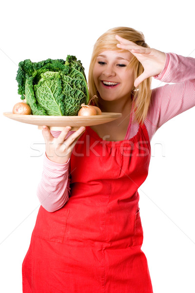 woman with fresh savoy cabbage and onions Stock photo © marylooo