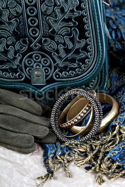 vintage bag, leather gloves, bracelets and scarf  Stock photo © marylooo