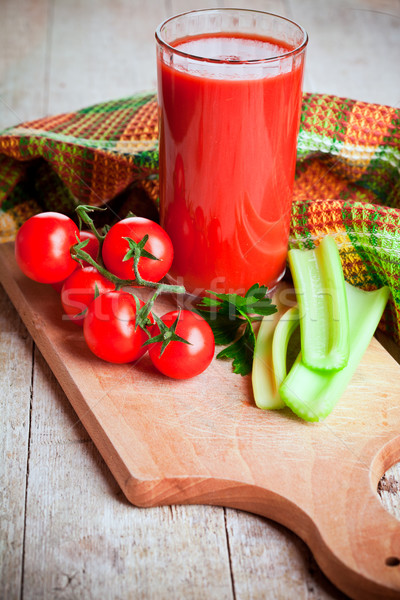 tomato juice in glass, fresh tomatoes and green celery Stock photo © marylooo