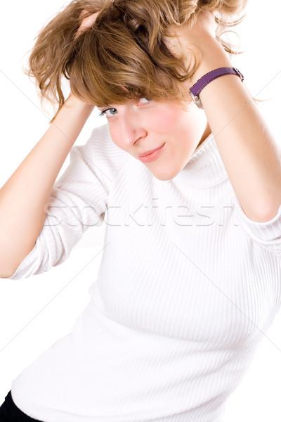 Foto stock: Atraente · dança · mulher · retrato · branco
