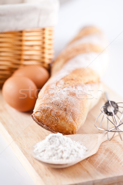 bread, flour, eggs and kitchen utensil Stock photo © marylooo