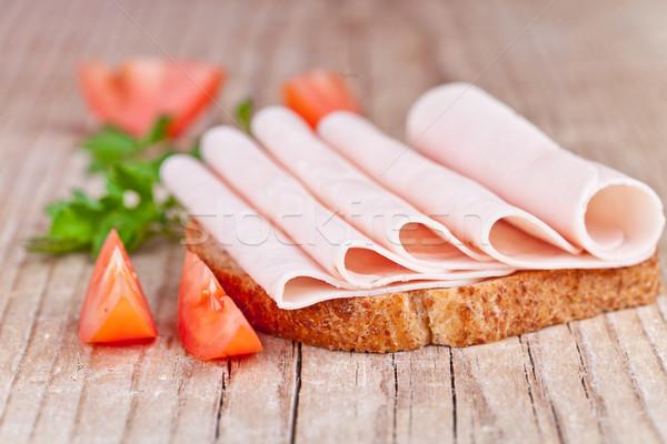 ストックフォト: パン · ハム · 新鮮な · トマト · パセリ