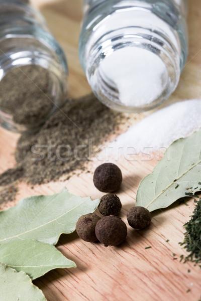 Stock fotó: Fűszer · bors · só · levelek · fahéj · gyógynövények