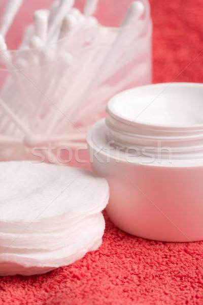 facial cream and cotton pads Stock photo © marylooo