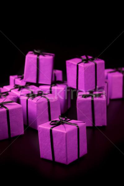 many violet gift boxes Stock photo © marylooo