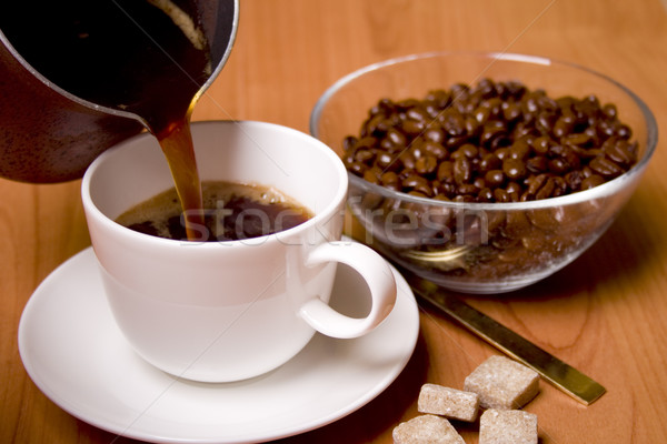 Cup caffè zucchero fagioli vetro ciotola Foto d'archivio © marylooo