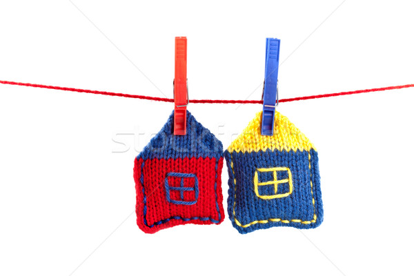 two knitted colorful houses Stock photo © marylooo