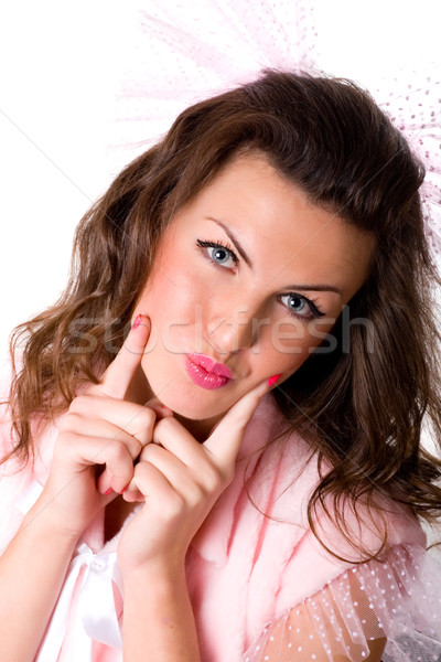 grimacing funny girl Stock photo © marylooo