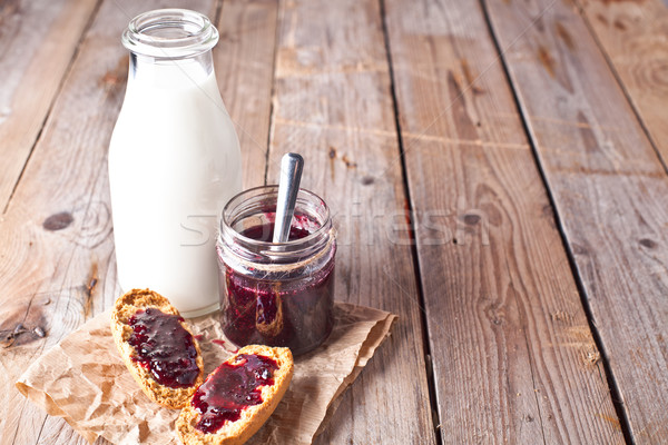 Noir groseille confiture verre jar lait Photo stock © marylooo
