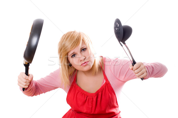 pretty housewife with kitchen utensil and pan Stock photo © marylooo