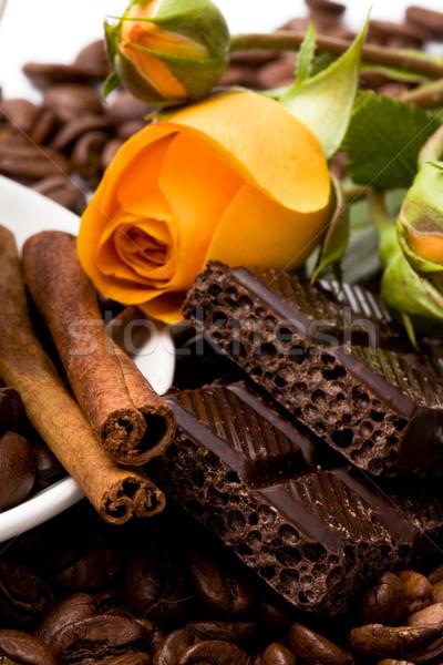 chocolate, coffee, cinnamon sticks and yellow flower Stock photo © marylooo