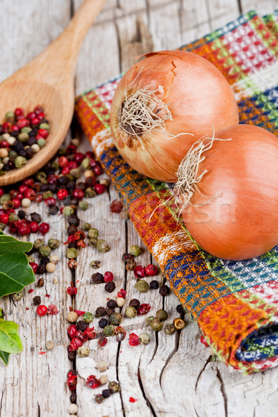 fresh onions, peppercorns and bay leaves Stock photo © marylooo