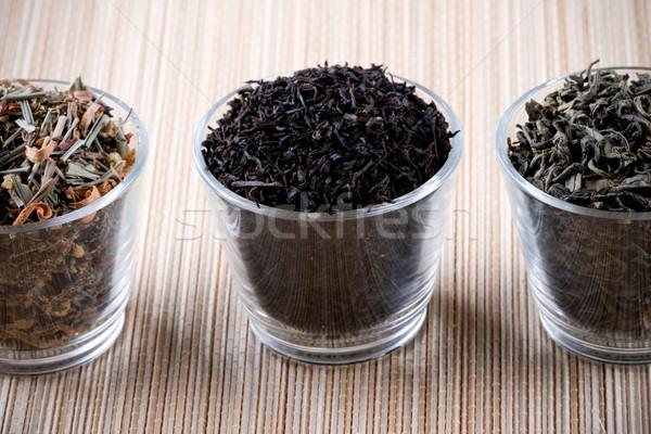 three kinds of dry tea in glasses  Stock photo © marylooo