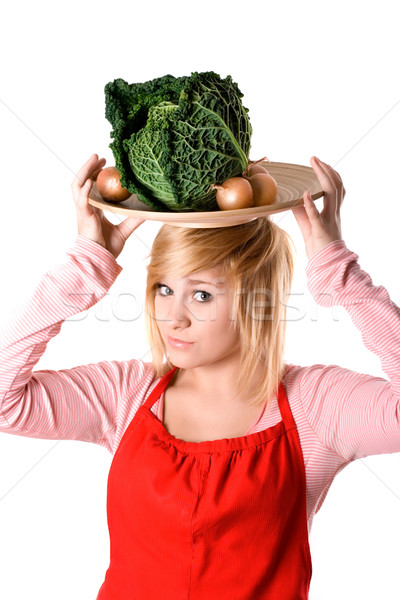 young beautiful woman with fresh savoy cabbage  Stock photo © marylooo