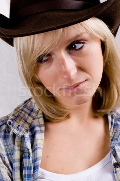довольно западной женщину портрет Cowboy Сток-фото © marylooo