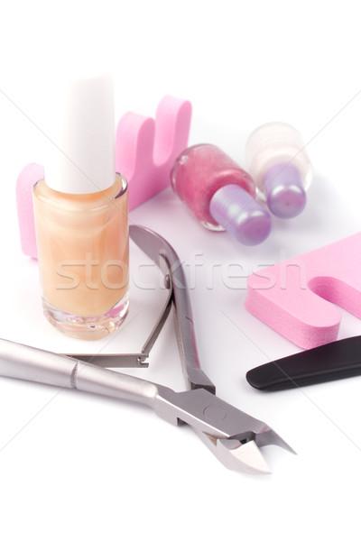 Pédicure beauté blanche mains rose Photo stock © marylooo
