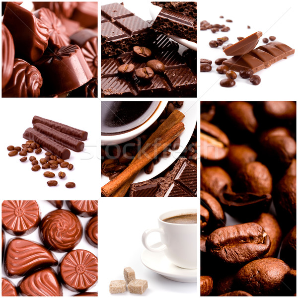 Kávé csokoládé gyűjtemény étel cukorka sötét Stock fotó © marylooo