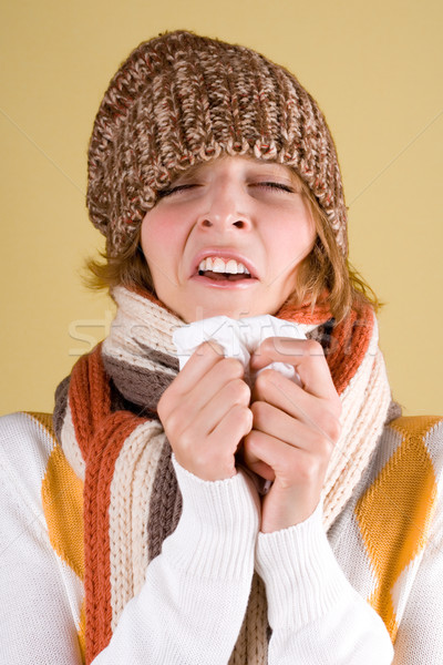 cold girl sneezes  Stock photo © marylooo