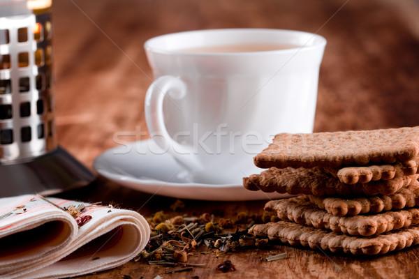 Fransız basın fincan taze bitkisel çaylar kurabiye Stok fotoğraf © marylooo