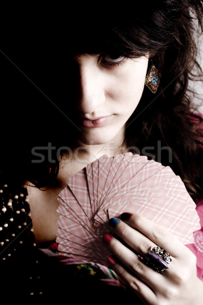 soothsayer with scrying cards Stock photo © marylooo