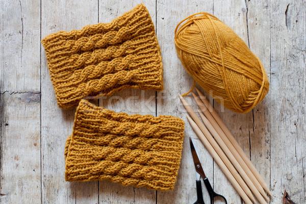 wool yellow legwarmers, scissors, knitting needles and yarn  Stock photo © marylooo