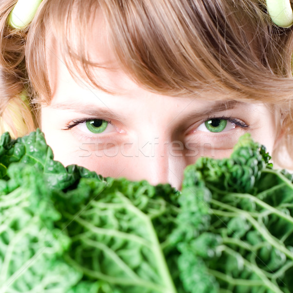 woman with fresh savoy cabbage Stock photo © marylooo