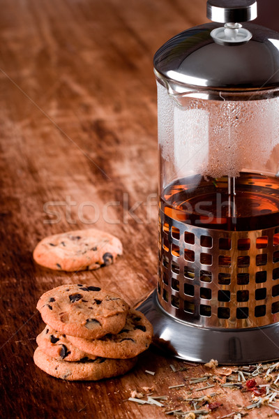 black tea and fresh baked cookies Stock photo © marylooo