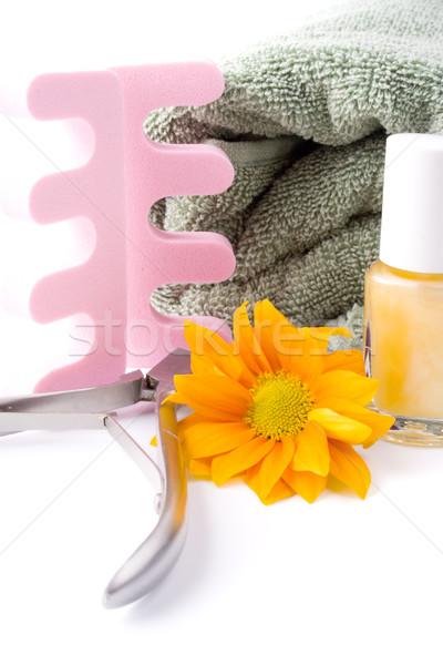Сток-фото: педикюр · красоту · набор · цветок · полотенце · белый
