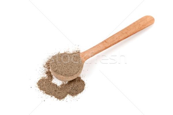 Pimienta negro cuchara de madera aislado blanco alimentos naturaleza Foto stock © marylooo