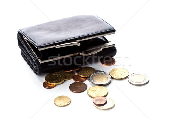 кошелька евро монетами белый бизнеса деньги Сток-фото © marylooo