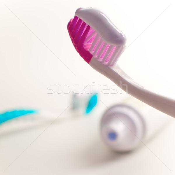 Tandpasta tandheelkundige zorg schoonheid geneeskunde badkamer Stockfoto © marylooo