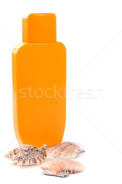 Lotion Muscheln weiß Sonne Hintergrund Sommer Stock foto © marylooo