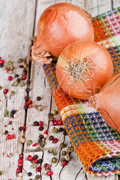 fresh onions and peppercorns Stock photo © marylooo
