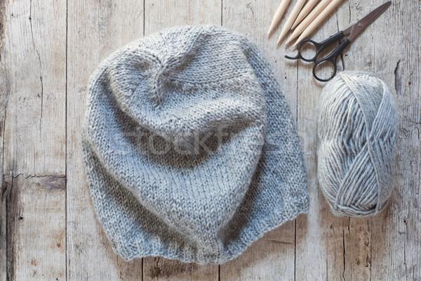 Wol grijs hoed naalden garen Stockfoto © marylooo