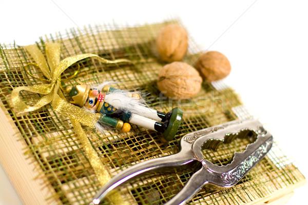 nutcracker, walnuts and decorations Stock photo © marylooo