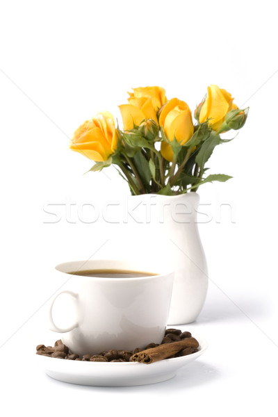 Stock photo: bouquet and cup of coffee