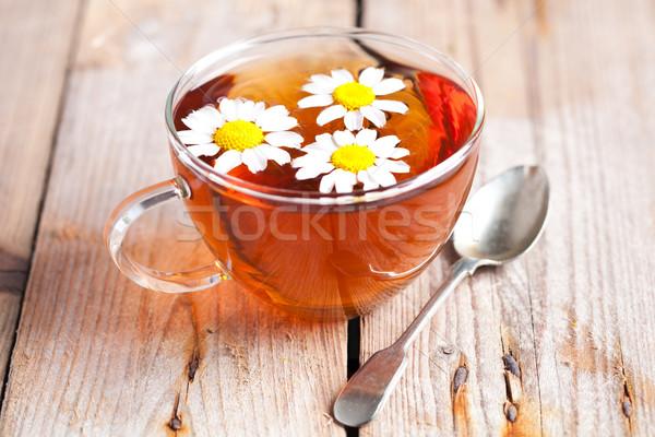 Fincan çay çiçekler rustik ahşap Stok fotoğraf © marylooo