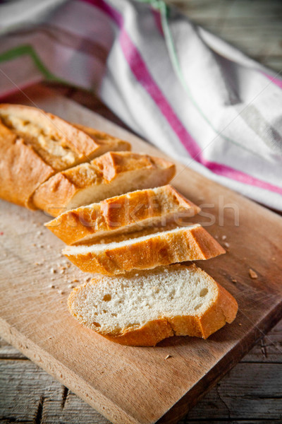 french bread baguette and linen napkin Stock photo © marylooo