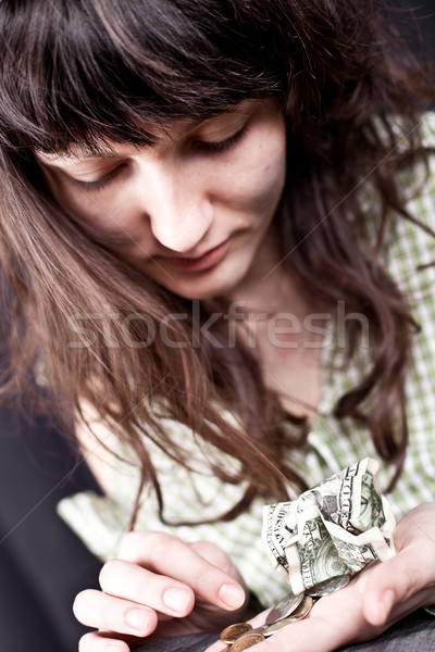 begging young woman with money  Stock photo © marylooo
