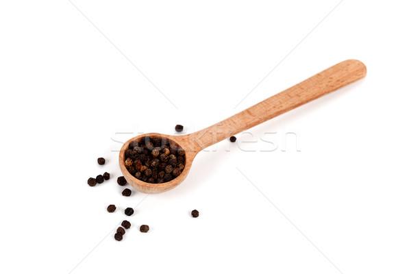 Pimienta negro cuchara de madera aislado blanco negro pimienta Foto stock © marylooo