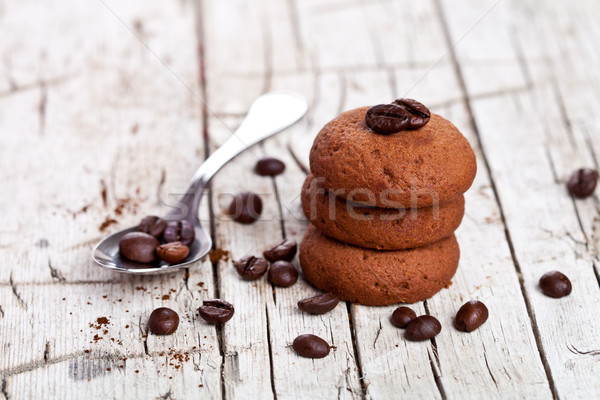 Schokolade Cookies Kaffeebohnen rustikal Holz Essen Stock foto © marylooo